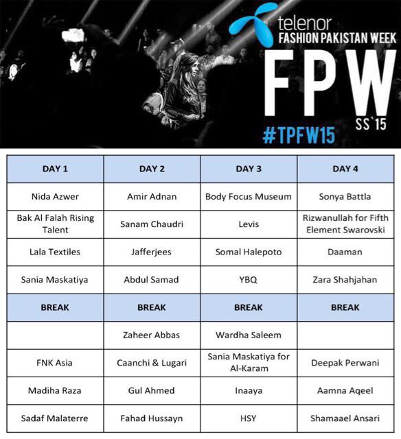 Schedule Telenor Fashion Pakistan Week